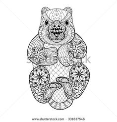 Hand drawn tribal Wombat, animal totem for adult Coloring Page in zentangle style , illustration with high details isolated on white background. Monochrome sketch.