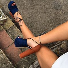 Sexy New Fashion Women Open Toe Blue Suede Leather Thick Heel Pumps Cut-out Lace-up Patchwork High Heels Dress Shoes(China) Zapatos Shoes, Shoes Heels, Flats, Tan Heels, Strappy Heels, Crazy Shoes, Me Too Shoes, Heeled Boots, Shoe Boots