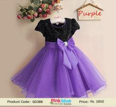 Purple party dress Baby Girls Black stars Lace Satin Holiday gift Party Retro UK