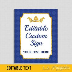EDITABLE Sign, Prince Royal Blue and Gold Baby Shower Table Sign, Editable Text Birthday Party Sign, 8x10 inch Template, INSTANT PRINTABLE