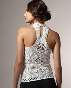 Rosa acessórios em tricô & crochê: Regata Oscar de La Renta