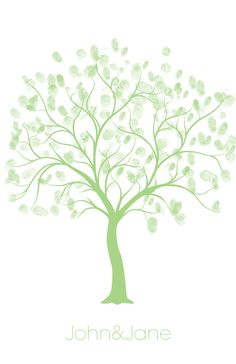 FREE Wedding Thumbprint Tree Style Guest Book | Thumbprint Tree Template