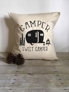 This adorable Camper Sweet Camper pillow cover comes in sizes 16x16 or 18x18. Great addition to any camper enthusiasts collection!