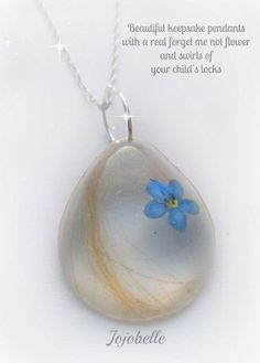 Keepsake lock of hair with real pressed forget me not flower pendant with 925 silver chain necklace