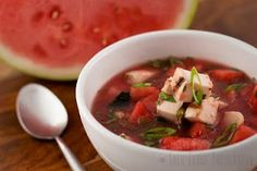 Watermelon and Grilled Chicken Soup