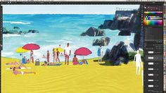 Work in progress. Taking forever... #wip #process #illustration #beach #spain #summer#tatsurokiuchi