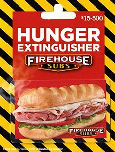 Firehouse Subs 25 Gift Card ** See this great product. (This is an affiliate link) Food Gift Cards, Food Gifts, Bread Gifts, Firehouse Subs, Restaurant Gift Cards, Amazon Gadgets, Burberry Gifts, Gift Card Balance, Fast Food Chains