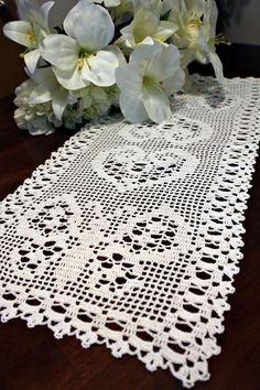 Filet Table runner with hearts and butterflys