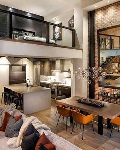 Right Contemporary Living Room Furniture – Loft İdeas 2020 Loft Interior Design, Loft Design, Küchen Design, Design Case, Home Interior, Interior Design Inspiration, Design Ideas, Duplex Design, Industrial Interior Design