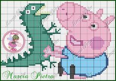 George Peppa Pig, Cross Stitch Baby, Cross Stitch Embroidery, Stitch Character, George Pig, Footprint Crafts, Beaded Animals, Knitting Charts, Betty Boop