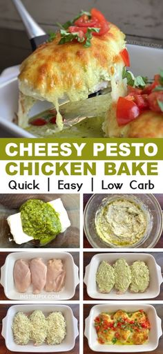 Low Carb Cheesy Pesto Chicken Recipe An easy keto friendly dinner recipe made with chicken cream cheese pesto and mozzarella Simple ingredients that the entire family wi. Baked Pesto Chicken, Chicken Pesto Recipes, Salmon Recipes, Meat Recipes, Seafood Recipes, Cooking Recipes, Sausage Recipes, Cheesy Chicken, Keto Chicken