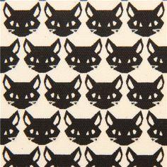 beige cat animal oxford fabric Kokka Japan