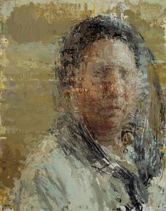 Self Portrait with threads, 2016 | Oil on linen-wrapped panel | 14 x 11 inches Ann Gale