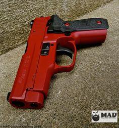 Sig P228 in Cerakote Crimson & Graphite Black