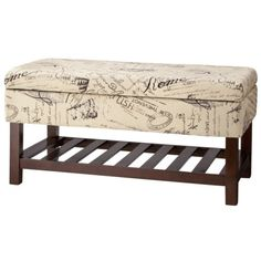 "Kinfine Vintage Script Storage Bench with wood slot shelf - 38"" x 19"" x 19""H Target Clearance"