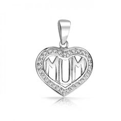 Mum Mom Heart Pendant Clear CZ Border 925 Sterling Silver