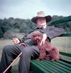 Winston Churchill With A Puppy