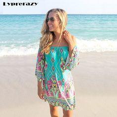 Online Shop Lyprerazy 2017 Summer beach Dress Fashion Bohemian Boho Flower  Print Off Shoulder Womens Casual Vintage Women Plus Size Dresses 61d209c83ad1