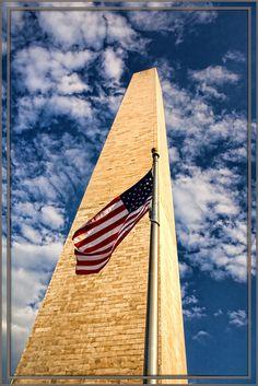 Washington Monument with Flag