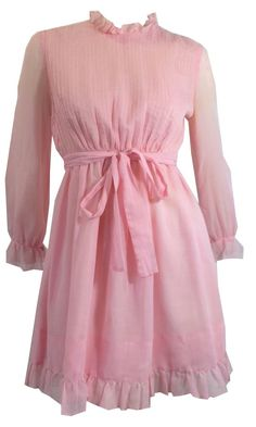 Baby Pink Voile Cotton Mini Dress w/ Ruffles and Pin Tucks circa 1970s