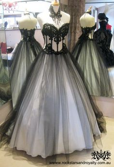 Ivory silk organza corset with black tulle overlay and black lace by Rockstars and Royalty