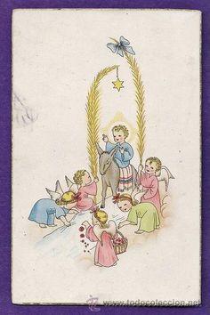 postal - domingo de ramos - dibujo infantil - nº 13 - ed. sasa bañeres. - nueva - años 50 (Postales - Religiosas y Recordatorios)