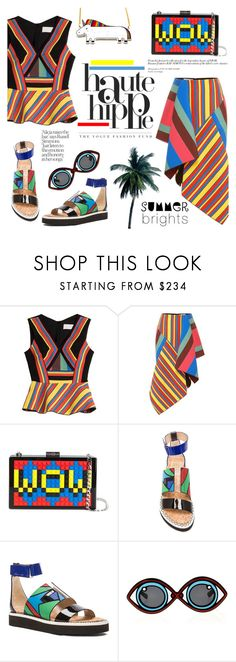 """Haute Hippie ~ Summer Brights"" by alexandrazeres ❤ liked on Polyvore featuring Peter Pilotto, Les Petits Joueurs, Haute Hippie, Linda Farrow, colourful, hautehippie, summerfashion, fashionset and summerbrights"