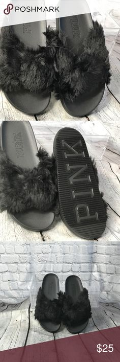 💕PINK by VSFaux Fur Crisscross slides Comfy and cute, these slides feature sherpa faux-fur. Crisscross straps Soft sherpa faux fur M (7/8) PINK Shoes Slippers