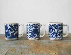 vintage japanese blue floral stoneware mugs