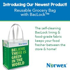 #GoGreen with the #Norwex reusable carry-all bag made with #recycled plastic. It's the right size for a trip to the grocery store and strong enough to hold all your fruits, vegetables and other food staples. The self-cleansing BacLock lining and the food-grade fabric give you the added bonus of keeping your food fresher between the store and home. #Norwex2015