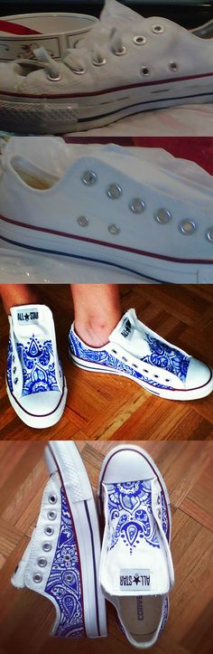 Awesomeness              my 3 dollar yard sale investment!   went from dirty converse to bright white again, to henna style slip-ons with a little elbow grease, sharpie and elastic!