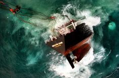 The tanker Grape One sinks in the English Channel off Cornwall after taking on water in heavy storms. Image shot 2003. Exact date unknown.