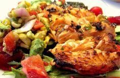 Grilled Salmon Salad With Blood Orange Cilantro Vinaigrette