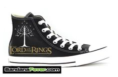 Converse Hi Black Lord Of the Rings Tree Of by BandanaFeverShoes, $164.99