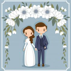 invitations background Cute cartoon couple for wedding invitations card Premium Vector Wedding Invitation Background, Wedding Invitation Video, Wedding Invitations, Floral Invitation, Invitation Set, Invitation Design, Bride And Groom Cartoon, Wedding Couple Cartoon, Wedding Illustration
