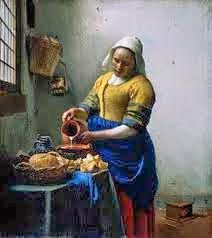 Johannes Vermeer The Milkmaid, , Rijksmuseum, Amsterdam. Read more about the symbolism and interpretation of The Milkmaid by Johannes Vermeer. Johannes Vermeer, Google Art Project, Dutch Artists, Great Artists, The Milkmaid Vermeer, Vermeer Paintings, Oil Paintings, Famous Art Paintings, Art History