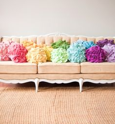 Custom Color Ruffle Rose Pillow, Small by That Funky Boutique - eclectic - pillows - Etsy Love the couch Ruffle Pillow, Flower Pillow, Childrens Room, Old Clothes, Colorful Pillows, Floral Pillows, Diy Décoration, My New Room, Custom Pillows
