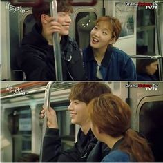 Cheese in the Trap kdrama - In Ho and Seul having fun on the train ride home. So much cute! #onigirilove #citt #kdrama