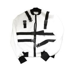 "By Kiy Online - CF-TECH Neoprene Bomber Jacket ""White"" Motorcycle Jacket, Bomber Jacket, Dom, Sweatshirts, Sweaters, Jackets, Tech, Fashion, Down Jackets"