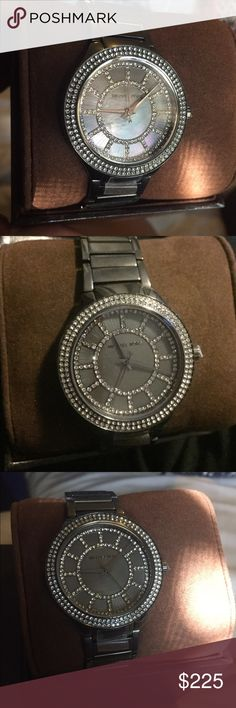 Michael Kors Watch NWOT. Gunmetal tone stainless steel case and bracelet. Pave crystal bezel. 38 mm bezeled/glitz face. The tag isn't attached but it's in the box. 100% Authentic. ❌❌No Trades‼️ Michael Kors Accessories Watches