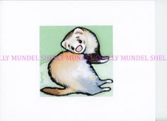 """Art by Shelly Mundel. Ferret People Collection  """"WASABI"""" aprox 5x5 inches #OutsiderArt"""