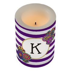 Elegant Bright Flowers Purple Striped Monogram Flameless Candle - girly gifts special unique gift idea custom