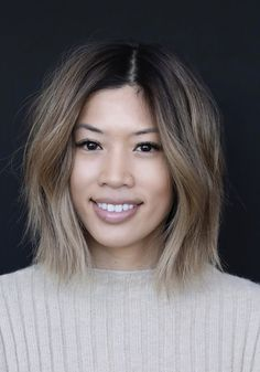 Cut / Style: Angels Natural meats not be able to Balyage Short Hair, Balayage Asian Hair, Short Balayage, Ash Blonde Balayage, Ombré Hair, Her Hair, Asian Bob Haircut, Korean Hair Color, Asian Short Hair