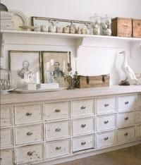 Just love these vintage style drawers - would be great in a hallway