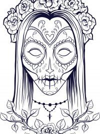 sugar skull colouring page by tearingcookie on