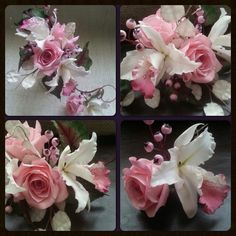 Sugar flowers and foliage for a Pure Romance style cake - by La lavande Cake Boutique @ CakesDecor.com - cake decorating website
