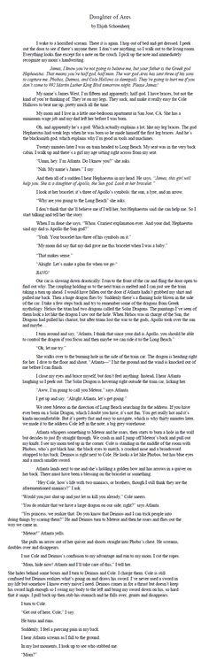 """2015 Teen Read Winning Written Entries- """"Daughter of Ares"""" by Elijah Schoenherr"""