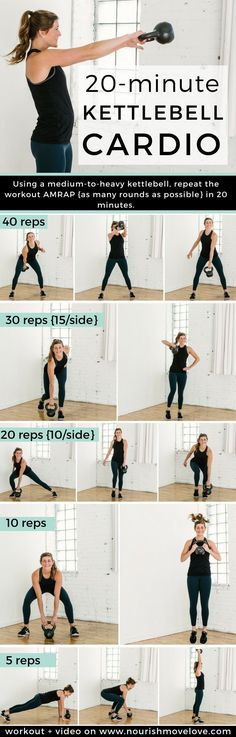 20-Minute Kettlebell Cardio AMRAP Workout | kettlebell exercises I kettlebell workout I kettlebell workout for women I cardio workout I 20 minute workout I amrap workout II Nourish Move Love #kettlebell #kettlebellworkout #cardio