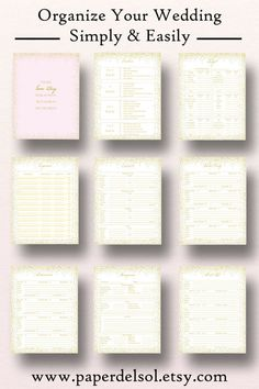 Printable Wedding Planner Use These Pages In Your Diy
