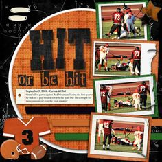 Sports Scrapbook Page Scrapbooking 101, Scrapbook Page Layouts, Scrapbook Paper Crafts, Scrapbook Cards, Baseball Scrapbook, Candy Cards, Photo Layouts, Scrapbooks, Football